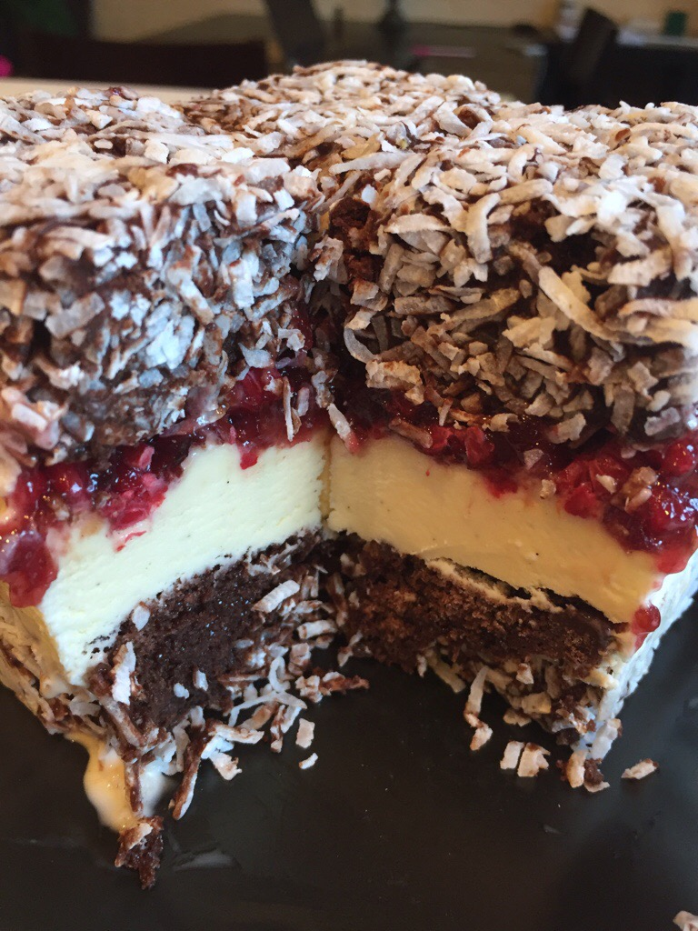 Ice Cream Lamingtons With Gin Vanilla And Raspberry Jam